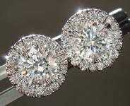 SOLD...Diamond Earrings: 1.19cts F-G I1 Round Brilliant Diamond Halo Earrings R6661
