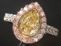 SOLD.....Yellow Diamond Ring: 1.00ct Fancy Light Yellow SI1 Pear Shape Pink Diamond Halo Ring GIA R6666