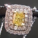 sold...Diamond Pendant: .48ct Fancy Intense Yellow Cushion Cut Diamond Halo Pendant GIA R6579