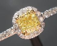 0.48ct Yellow SI1 Cushion Diamond Ring R6576