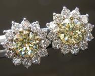 SOLD...Yellow Diamond Earrings: 1.43cts Y-Z Round Brilliant Diamond Halo Earrings R6600