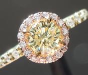 0.49ct Fancy Light Yellow I1 Round Brilliant Diamond Ring R6577