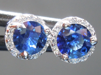 SOLD...Sapphire Earrings: .61ct Blue Round Brilliant Sapphire and Diamond Halo Earring R6694