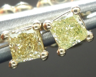 SOLD...Yellow Diamond Earrings: .35ctw Fancy Yellow VS Princess Cut Diamond Stud Earrings R2043