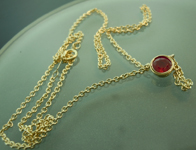 SOLD....Ruby Necklace: .75ct Round Ruby Bezel Set Pendant R6652