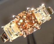 1.21ct Dark Yellowish Brown VS1 Cushion Cut Diamond Ring R6617