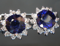 SOLD.........Sapphire Earrings: 1.93cts Blue Round Brilliant Sapphire and Diamond Halo Earrings R6676