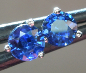 SOLD...Sapphire Earrings: .76ctw Blue Round Brilliant Sapphire Earrings R6718
