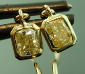 SOLD.........Yellow Diamond Earrings: .64ctw Fancy Yellow VS Radiant Cut Diamond Dangle Earrings R6632