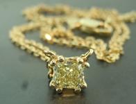 SOLD......Yellow Diamond Necklace: .42ct Fancy Light Yellow Radiant Cut Diamond Pendant R6644