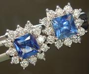 0.95cts Blue Princess Cut Sapphire Earrings R6681