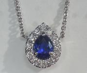 0.78ct Blue Pear Shape Sapphire Pendant AGL R6691