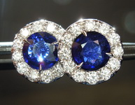 SOLD.....Sapphire Earrings: 1.95cts Blue Round Brilliant Sapphire and Diamond Halo Earrings R6737