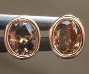 SOLD.....Brown Diamond Earrings: .60ctw Fancy Yellow Brown SI1 Oval Diamond Earrings R6724