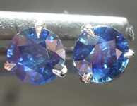 SOLD....0.77ctw Blue Round Brilliant Sapphire Earrings R6749