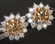 SOLD.....Diamond Earrings: 1.41cts Fancy Brownish Yellow VS Round Brilliant Diamond Earrings R6755
