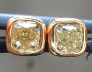 SOLD....Yellow Diamond Earrings: .62ctw Fancy Light Yellow SI2 Cushion Cut Diamond Earrings R6709
