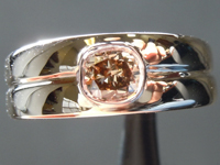 SOLD.....0.49ct Fancy Orange Brown VS2 Cushion Cut Diamond Ring R6782