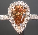 SOLD...1.11ct Fancy Orange Brown SI1 Pear Shape Diamond Ring R6745