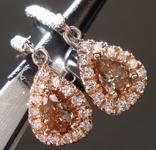 SOLD.......Diamond Earrings: .65cts Fancy Orange Brown VS Pear Shape Diamond Halo Earrings R6794