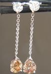 SOLD...Diamond Earrings: .64cts Fancy Brownish Yellow SI2 Pear Shape Diamond Dangle Earrings R6856