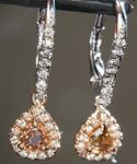 SOLD.......Diamond Earrings: .47cts Fancy Brownish Yellow SI2 Pear Shape Diamond Halo Earrings R6944