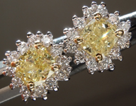 SOLD.........Yellow Diamond Ring: .82cts Fancy Light Yellow Cushion Cut Diamond Halo Earrings R6959