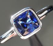 0.89ct Blue Cushion Cut Sapphire Ring R7000