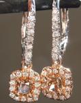 0.61cts Orangy Brown SI1 Cushion Cut Diamond Earrings R6943
