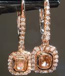 0.71cts Yellow Brown VS1 Cushion Cut Diamond Earrings R6942
