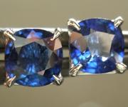 SOLD...1.37ctw Blue Cushion Cut Sapphire Earrings R7018