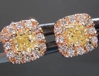 SOLD.....Diamond Earrings: .50cts Fancy Yellow SI Cushion Cut Pink Lemonade™ Diamond Earrings R6961