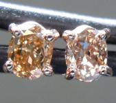SOLD..Brown Diamond Earrings: .32ctw Fancy Orangy Brown SI1 Oval Diamond Earrings R7011