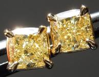 SOLD.....Yellow Diamond Earrings: .94ctw Fancy Yellow Cushion Cut Diamond Earrings GIA R6602
