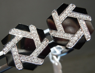 Cuff Links: 18Karat White Gold Onyx and Diamond Gent's Cuff Links R7098