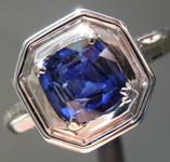 SOLD...1.19ct Blue Cushion Cut Sapphire Ring R7020