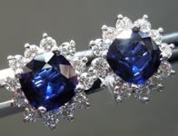 SOLD....Sapphire Earrings: 2.06cts Blue Cushion Cut Sapphire and Diamond Halo Earrings R7021