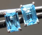 SOLD....1.35ctw Blue Emerald Cut Topaz Earrings R7006