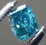 Loose Blue Diamond: .22ct Fancy Deep Green-Blue SI1 Cushion Modified Brilliant Diamond GIA R7204