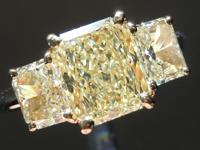 SOLD......Yellow Diamond Ring: 1.69ct W-X VS1 Radiant Cut Three Stone Diamond Ring GIA R2054