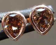 SOLD.......Brown Diamond Earrings: .67cts Fancy Orange Brown VS Pear Brilliant Diamond Earrings R6789