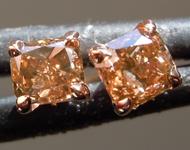 SOLD.........Brown Diamond Earrings: .32ctw Fancy Brownish Yellow SI1 Cushion Cut Diamond Earrings R7193