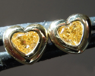 SOLD....Diamond Earrings: .26ctw Fancy Intense Orange Yellow VS Heart Shape Diamond Earrings R7321