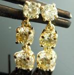 SOLD.......Yellow Diamond Earrings: 1.90ctw S-T VS-SI Round Brilliant Diamond Dangle Earrings R7312