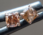 SOLD....0.29ctw Brownish Yellow SI1 Cushion Cut Diamond Earrings R7197