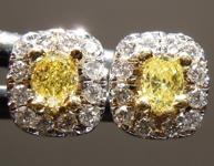 SOLD.....0.28cts Fancy Intense Yellow Oval Diamond Earrings R7295