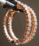 SOLD.....Pink Diamond Earrings: 1.62ctw Fancy Light Brownish Pink Diamond Hoop Earrings R7316