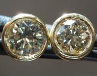 SOLD...Diamond Earrings: .88ctw Fancy Light Greenish Yellow SI1 Round Brilliant Diamond Earrings R7326