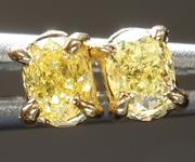 SOLD......Yellow Diamond Earrings: .30ctw Fancy Intense Yellow VS Cushion Cut Diamond Earrings R7349