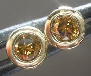 SOLD.....Diamond Earrings: .33ctw Fancy Greenish Brown Yellow SI1 Round Brilliant Diamond Earrings R7385